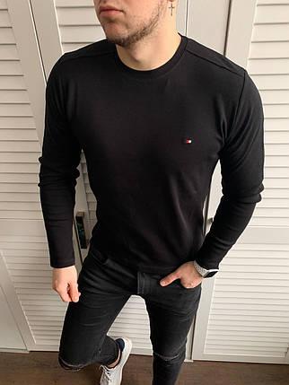 Свитшот мужской Tommy Hilfiger синего цвета. Стильный мужской базовый лонгслив / кофта Томми темно-синяя., фото 2