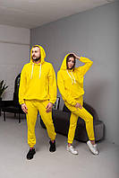 Парный Оверсайз костюм (худи+штаны) желтого цвета. Модные парные спортивные костюмы (штаны+кенгуру).