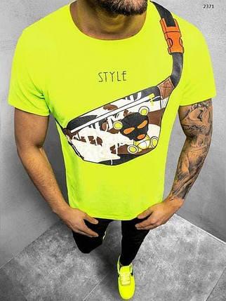 Футболка мужская кислотного цвета с принтом Бананка. Яркая мужская футболка желто-салатовая с модным принтом., фото 2