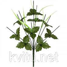 Нога букетная 11-ка с листом и усиками, 48см