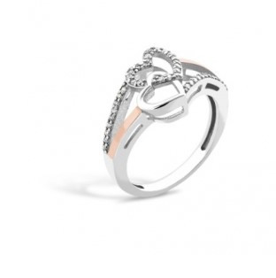 Серебряное кольцо с золотом Сердца