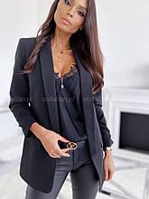 Женский пиджак, креп - костюмка класса люкс, р-р С-М; М-Л (чёрный)
