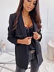 Женский пиджак, креп - костюмка класса люкс, р-р С-М; М-Л (чёрный), фото 2