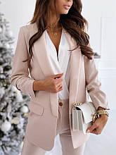 Жіночий піджак, креп - костюмка класу люкс, р-р С-М; М-Л (бежевий)
