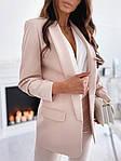 Жіночий піджак, креп - костюмка класу люкс, р-р С-М; М-Л (бежевий), фото 2
