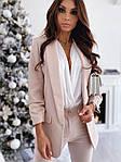 Женский пиджак, креп - костюмка класса люкс, р-р С-М; М-Л (бежевый), фото 3