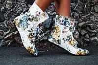 Женские стильные цветные коттоновые ботиночки на шнурках. АРТ-0121