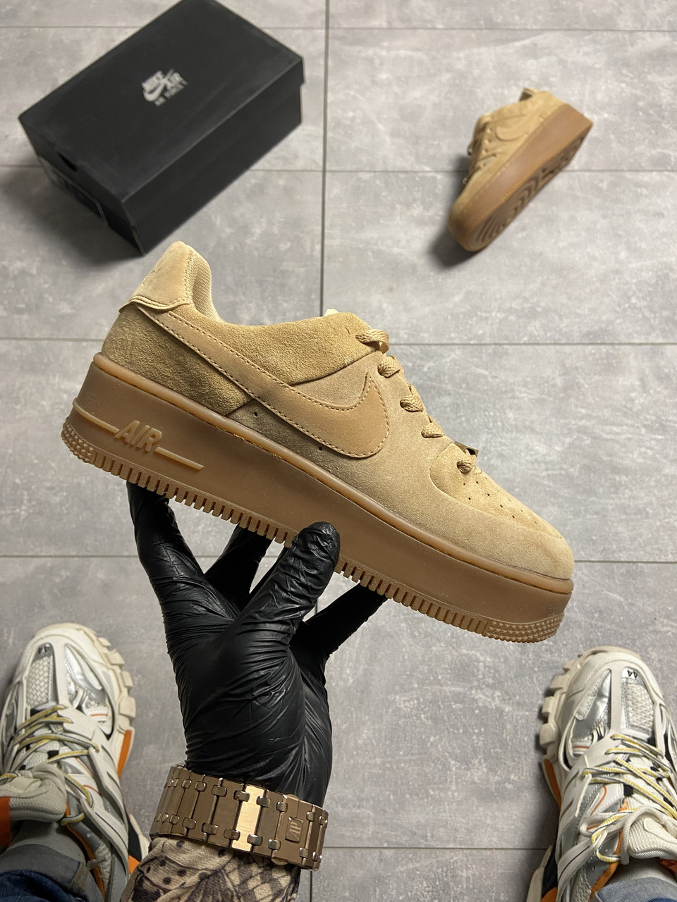 Nike Air Force 1 Sage Low Club Gold (Коричневый)