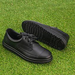 Мужские кожаные туфли на шнурках Tellus 05-10B черные