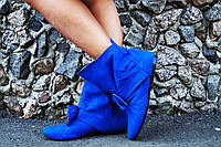 Женские стильные синие кашемировые ботиночки с бантиком. АРТ-0122