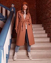 Пальто-тренч женское демисезонное шерстяное, миди, 1370 | 42, 44, 46, 48 размеры