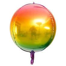 """Фольгированный шар сфера-градиент синий-зеленый-желтый-фиолетовый 22 """"Китай"""