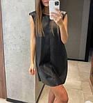 Жіноче плаття, екошкіра, р-р універсальний 42-46; 48-52 (чорний), фото 2