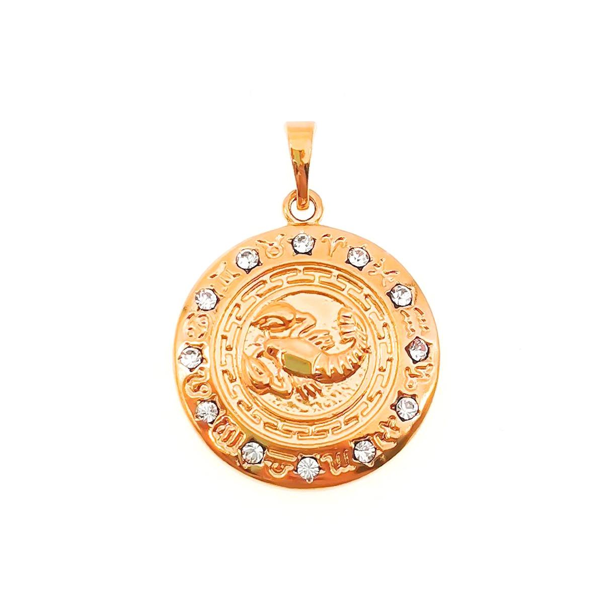 """Подвеска Xuping знак Зодиака """"Рак"""" из медицинского золота, белые фианиты, позолота 18K, 42504       (1)"""