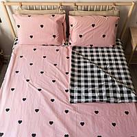 Комплект постельного белья KrisPol «Сердечки на розовом» 180x220 Сатин