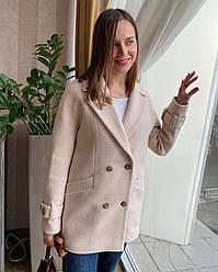 Пальто-пиджак женское демисезонное шерстяное, оверсайз, 1373| 40, 42, 44, 46, 48 размеры