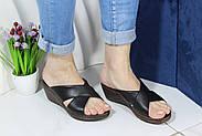 Шльопанці жіночі шкіряні на танкетці Aras Shoes 245-black, фото 2