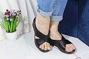 Шльопанці жіночі шкіряні на танкетці Aras Shoes 245-black, фото 3
