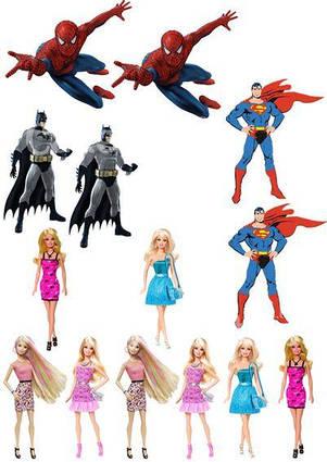 Вафельная картинка Герои комиксов и Барби