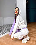 Женский спортивный костюм, турецкая двунить, р-р 42-44; 44-46 (фиалка+белый), фото 2