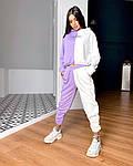 Жіночий спортивний костюм, турецька двунить, р-р 42-44; 44-46 (фіалка+білий), фото 4