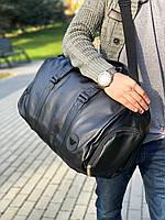 Сумка унисекс большая с логотипом Giorgio Armani из эко-кожи премиум качества через плечо (Черный)