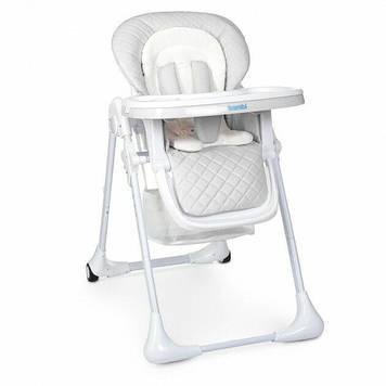 Стульчик для кормления с колесами регулируемой спинкой Серый стул для прикорма для ребенка от 6 мес до 3-х лет