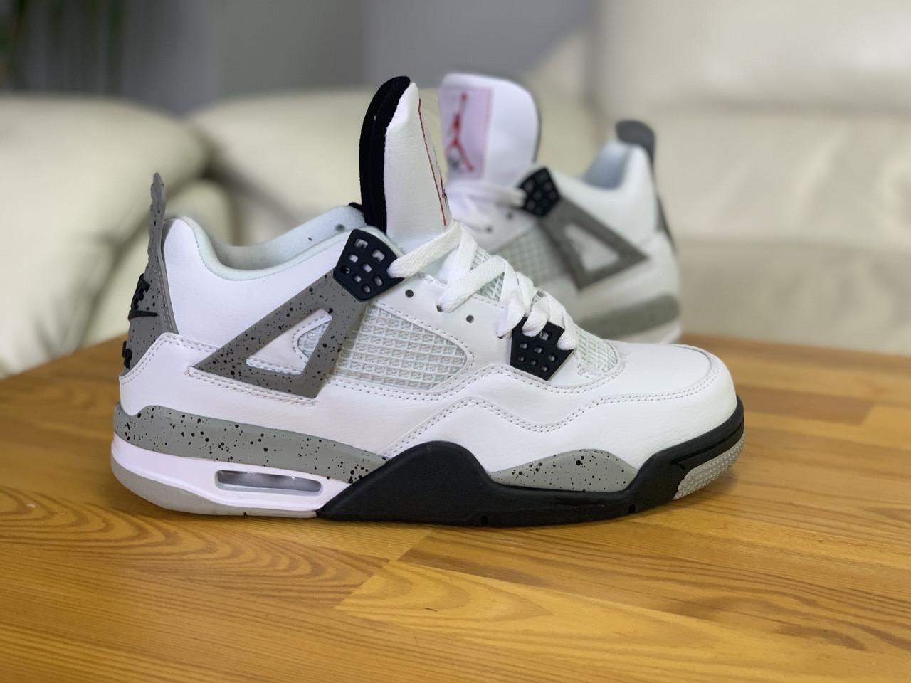 Мужские белые кроссовки Nike Air jordan 4 Найк Аир Джордан 4