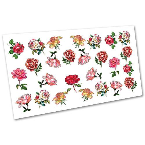 Слайдер-дизайн наклейки на ногти для маникюра водные Цветы №1680