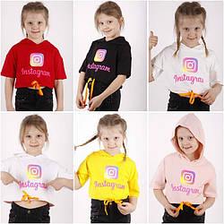 Футболка с коротким рукавом  для девочки с капюшоном, на шнурке и с рисунком Instagram, оптом ПАК/5шт (