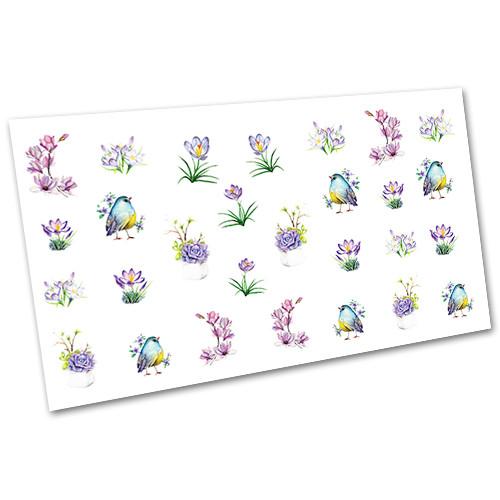 Слайдер-дизайн (водні наклейки, фотодізайн) для нігтів Квіти №1693
