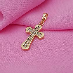 Крестик с розссипом циркония, медзолото Xuping, 18К