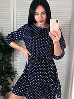 Повседневные платья - 126 - Молодежное короткое женское платье трапеция в горошек
