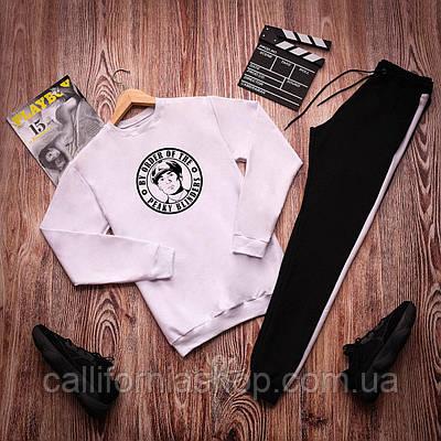 Спортивный костюм мужской с принтом Острые Козырьки свитшот белый + штаны черные с лампасами легкий двунитка