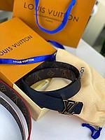 Шкіряний ремінь Louis Vuitton двосторонній (репліка), фото 1