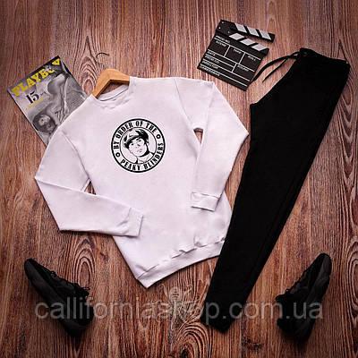 Спортивный костюм мужской с принтом Острые Козырьки свитшот белый + штаны черные