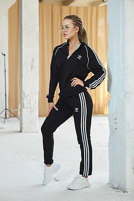 Женский спортивный костюм Adidas черный олимпийка / кофта - штаны лето/весна/осень