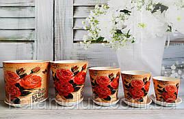 Набір квіткових горщиків Керамклуб №9 Троянди
