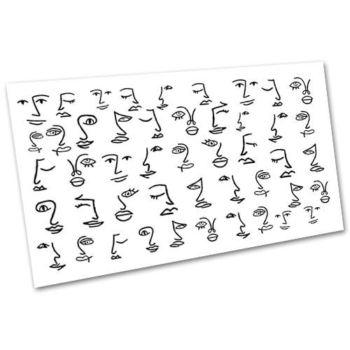 Слайдер-дизайн (водні наклейки, фотодізайн) для нігтів Лінійні силуети №2012