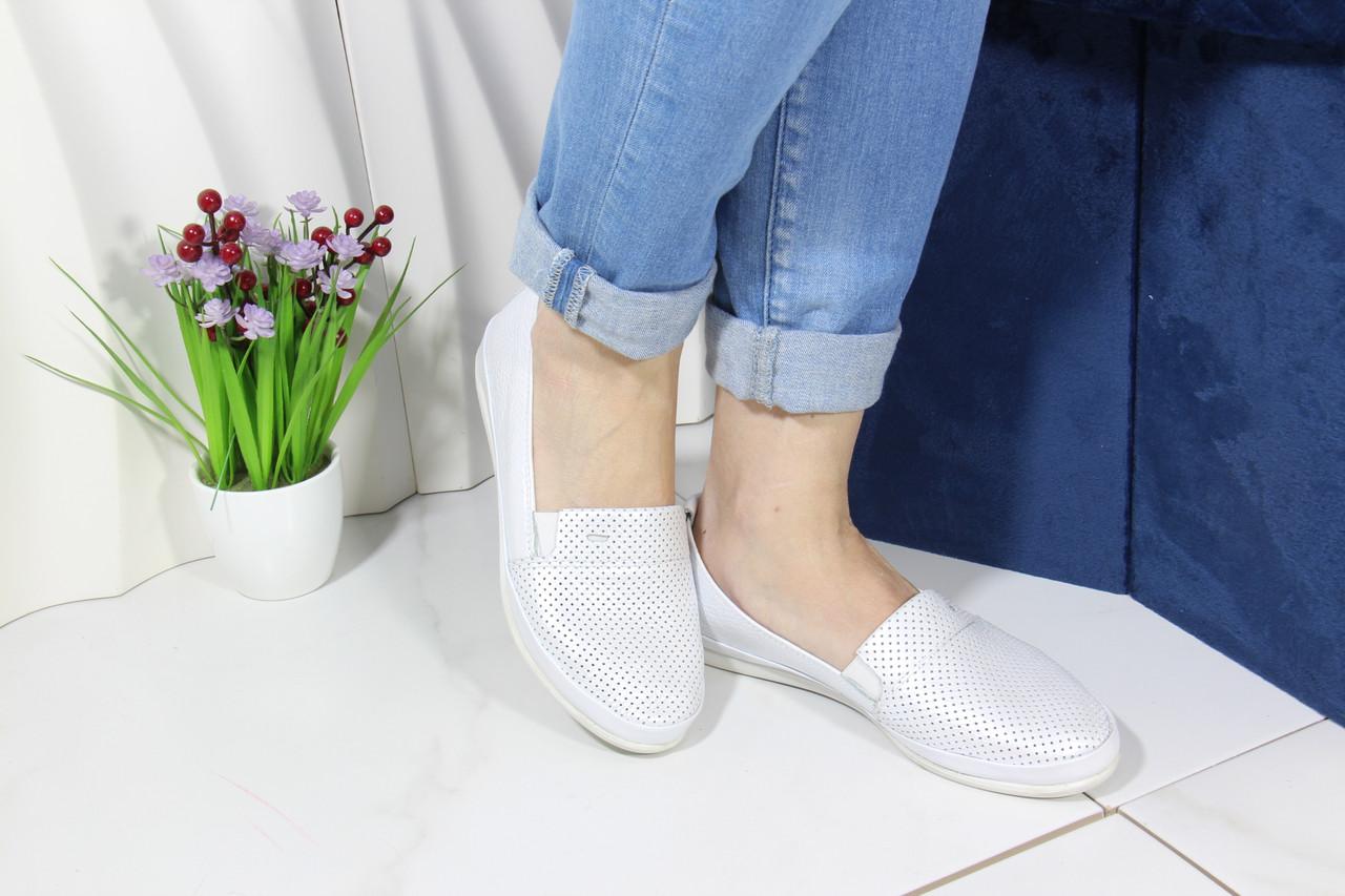 Женские кожаные мокасины Aras Shoes 650-beyaz