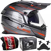 LS2 MX436 PIONEER EVO KNIGHT TITANIUM ORANGE кросс эндуро шлем, фото 1