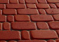 Тротуарная плитка Старый город 40 красная, Серая основа