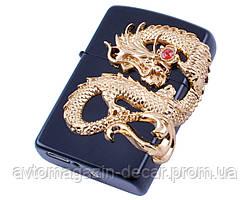 Запальничка USB 2 блискавка/кнопка/ZIPPO Золотий Дракон HL-118