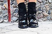 Женские стильные замшевые ботиночки с бантиком и лаковыми вставками . АРТ-0126