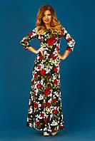 Платье турецкий трикотаж цветы Черный, 44-46