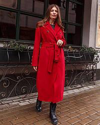 Пальто женское демисезонное кашемировое, макси, большой размер №1363 |  44-58 размеры