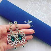 Серьги женские Снежанна зеленые , сережки женские