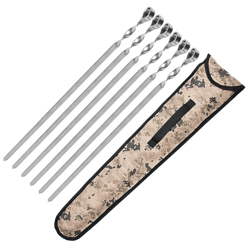 Набор шампуров нержавейка 690/10/3мм 6 штук с чехлом плоские прочные
