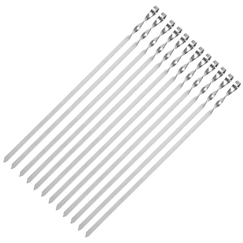 Набор 12 шампуров 690/10/3мм нержавеющая сталь плоские прочные EcoGrill