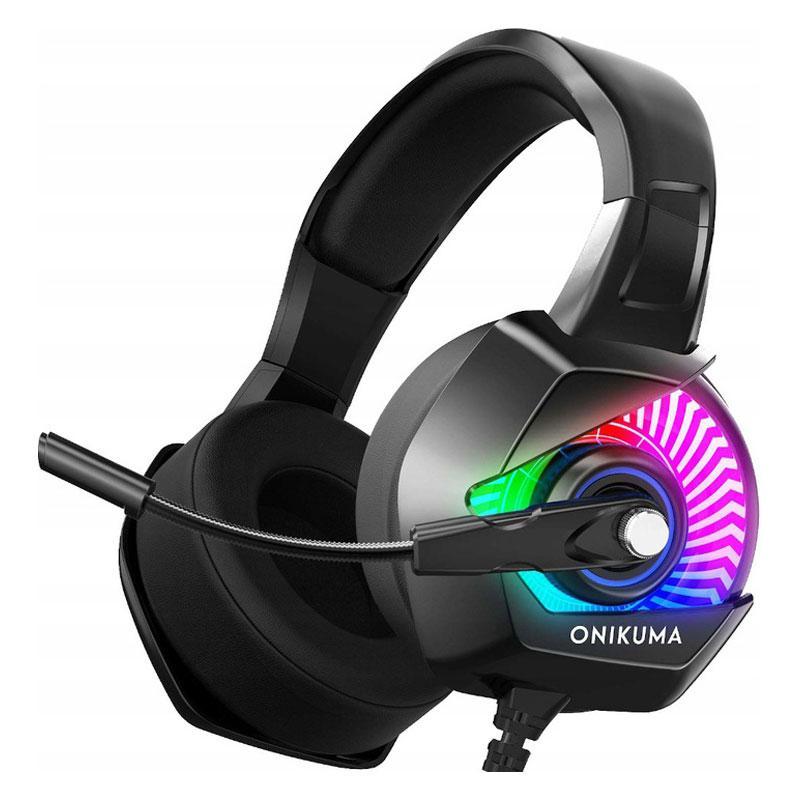 Игровые наушники с микрофоном и RGB подсветкой Onikuma K6  Black/RGB геймерская гарнитура черные